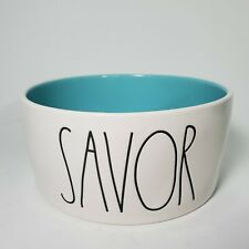 Rae Dunn - SAVOR - Sky Blue Ceramic S-M Dog Cat Pet Bowl 6""