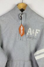 Mens ABERCROMBIE Sweatshirt ATHLETIC NEW YORK Zip Neck COMFEE Sweater LARGE  P9