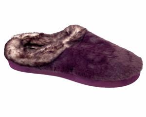 Cuddl Duds Women's Frosted Faux Fur Clog Slipper Boysenberry Medium Size (7-8)