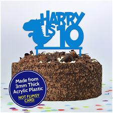DINOSAUR Kids Birthday Cake Topper PERSONALISED Decoration Cake Boys Girls Child