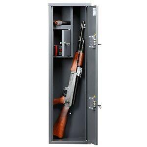 2 Gun Rifle Shotgun Storage Lockable Steel Cabinet Metal Security Safe 3.28 ft