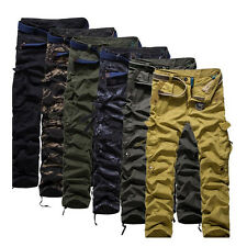 New Mens Camo Cargo Combat Fashion Slim Fit Straight Army Working Pants Trousers
