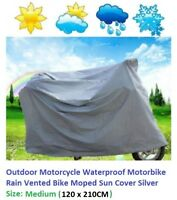 Outdoor Motorcycle Waterproof Motorbike Rain Vented Bike Moped Sun Cover _Medium