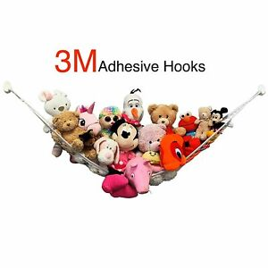 Large Stuffed Animal Hammock - NO Drilling, 3M Adhesive Hooks - Storage Net...