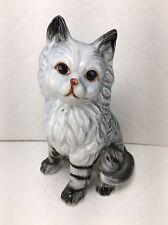 Gray White Tabby Cat Kitten w/Black Stripes Sitting Vintage Figurine