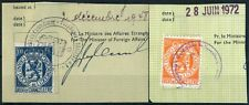 LUXEMBOURG 1948 & 1972 USED 100 & 200 Fr, 2 CONSULAR REVENUES ON FRAGMENTS #A691