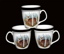 3 Folkcraft WHITE TAIL DEER Large Black Rim Speckled Mugs DISC by Scottyz HTF