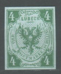 Lübeck, 1859 Stadtwappen, 4 Schilling, MiNr. 5a ohne Gummi