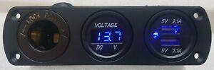 12V, DUAL USB 4.2A CHARGER POWER OUTLET SOCKET + VOLTAGE GAUGE FLUSH MOUNT AU