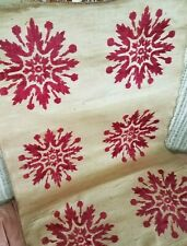 Antique French Linen Brocade Red Velvet Fabric Panel Woven Tapestry Textile