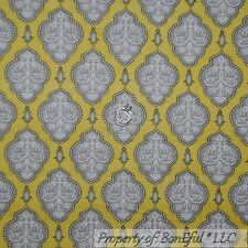 BonEful Fabric FQ Cotton Quilt Yellow Gray White Flower Damask Stripe Baby Dot S
