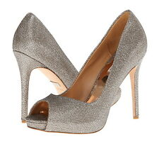 NIB $200 Badgley Mischka Kassidy II Platino Diamond Fabric Dressy Shoes Pumps 8