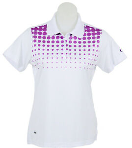 Women's White and Purple Spot Polo Short Sleeve Golf T-Shirt