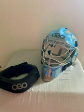 OBO Custom limited Field Hockey Goalie Helmet - Medium with obo robo neck guard
