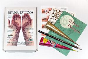 Natural FRESH Darkest Brown Henna & Glitter Cone Tattoo Kit Designs Stencils JJ