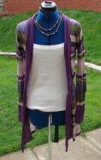 BNWOT Comma  size 12 delicate knit long cardigan green, purply pinks, blue