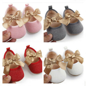Infant Mary Janes Bow Shoes Newborn Baby Girl Wool Yarn Crib Shoes 3 6 9 12 18 M
