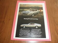 "FORD MUSTANG PROMO AD-""It's a Personal Thing""-1971-Original Magazine Print"