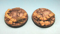 Unpainted 2 x 60mm resin bases rubble Imperial Guard Heavy Weapons 40k BA