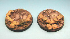 Unpainted 2 x  60mm resin bases  Imperial Guard Heavy Weapons 40k Bolt Action