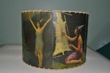 "Indian Maiden lamp shade 16"" x 16"" Drum, Rustic Cabin Decor"