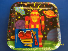 "Party Bots Toy 3D Robot Space Boys Kids Birthday Party 7"" Square Dessert Plates"