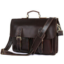 Augus Real Lether Flapover Work Briefcase 15.5 Inch Laptop Bag For Men