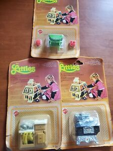 The LITTLES Lot NEW Stove Sink Green table  Die Cast Metal Doll House Furniture