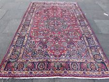 Vintage Worn Traditional Hand Made Rug Oriental Red Blue Wool Carpet 276x185cm