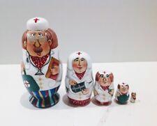 "Russian  Nesting Doll ""Doctors""  Signed 5 Pcs H 3.5"""