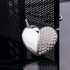 Silver Crystal Heart 32GB USB Flash Drives USB Memory Stick for Computer Macbook
