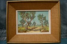 Paysage aux oliviers. Huile / isorel signé : M. LUSSIANA. Cadre h: 33x45 cm 60's