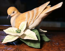Lenox Porcelain Turtle Dove Figurine White Poinsettia