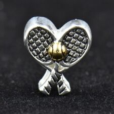 Pair of Tennis Racquets Ball European Sterling Silver Charm Double Pandora Slide