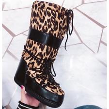 dd8c4aa5122 Cape Robbin RUNAWAY Leopard Black Puffy Lace Up Mid Calf Cozy Winter Boot