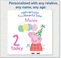 KIDS PIG BIRTHDAY CARDS - personalised with any AGE RELATIONSHIP & NAME V2