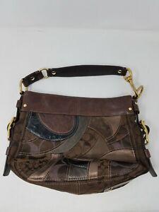 COACH Brown Mosaic Zoe Patchwork Shoulder Bag Handbag Purse 13515