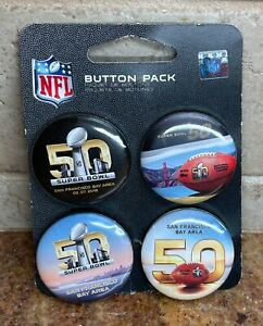 NFL Super Bowl 50 San Francisco Bay Area Buttons/Pins 4-Pack • New