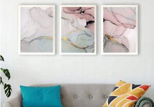 A4 Set of 3 Prints Wall Art Poster Marble Pink Prints + White Frames A4 x 3