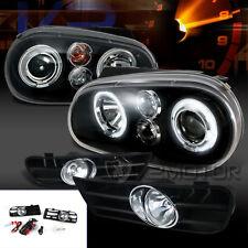 Fit 99-04 Golf GTI Black LED Halo Projector Headlights+Clear Bumper Fog Lamps