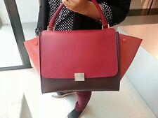 NEW AUTH CELINE Trapeze Bag Bicolor Leather Burgundy Wine Raspberry Handbag