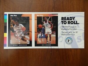 1991 Star Pics Pro Prospects Basketball CardArt  Promo Kenny Anderson, Dee Brown
