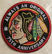 "Chicago Blackhawks 75th Anniversary 3.5"" Iron On Embroidered Patch ~USA Seller~"