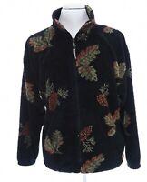 Black Mountain Outdoor Mens Sz L Black Fleece Leaf Print Full Zip Up Jacket Vtg
