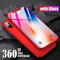 360 Hybrid Full Body Case For Iphone XR XS Max X Tempered Glass Screen Protector