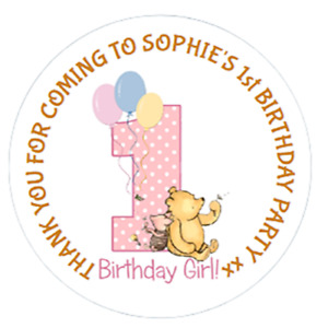 48 Personalised Winnie The Pooh 1st 2nd Birthday Party Bag Cone Stickers 40mm