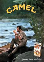 PUBLICITÉ DE PRESSE 1990 CAMEL CIGARETTE DISCOVER CAMEL SATISFACTION - CANOË