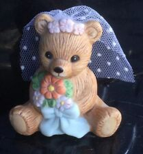 Homco Bride Bear Figurine June Wedding Flowers Bouquet