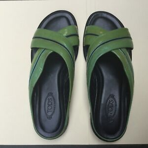 Tod's Women's Patent Leather Green Slide Sandals Size 37