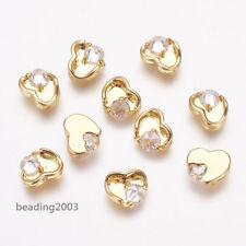 5pcs Brass Cubic Zirconia Cabochons Heart Shaped Golden DIY Making 7x8x3mm